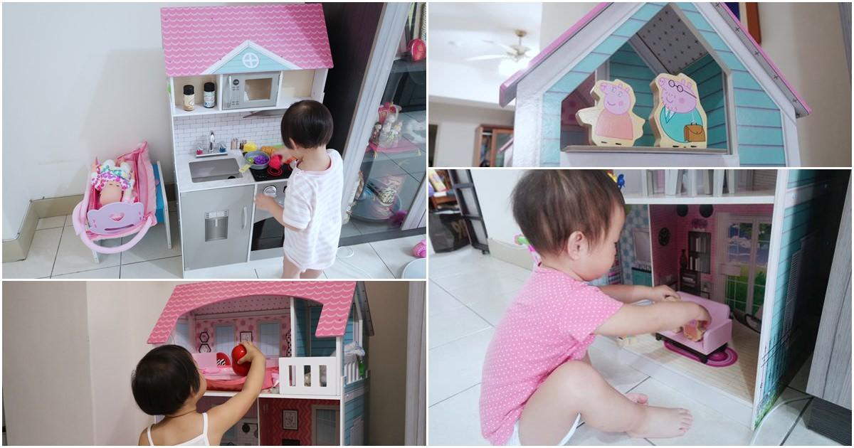 平價玩具廚房。Teamson Kids艾芮兒奇境2合1木製娃娃屋廚房組開箱 @艾比媽媽