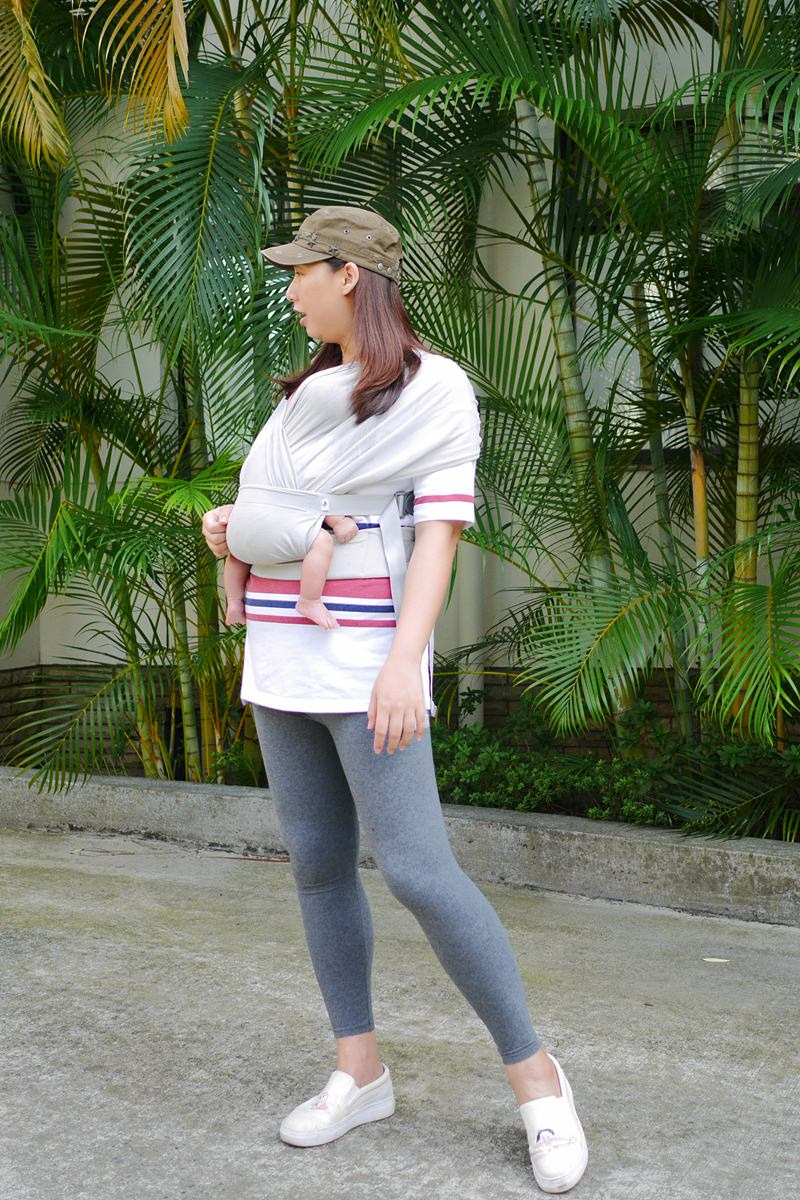 新生兒揹巾推薦-韓國 Pognae Step One Air 包覆式新生兒揹巾分享 ▌超好穿戴上手,獨自操作沒問題