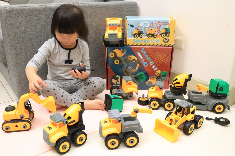 車車拆解組裝玩具推薦-SMART積木車。挖土機、吊車、砂石車、垃圾車、推土機、水泥車 @艾比媽媽